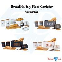 Retro Bread Bin Plus Canister Bamboo Lid Chopping Board Tea Coffee Sugar Tin
