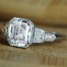 18k White Gold Asscher Shape 3.00 Carat Engagement GIA Certified Diamond