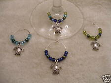 4 Sea Turtle Wine Glass Charms -DELTA ZETA marine beach
