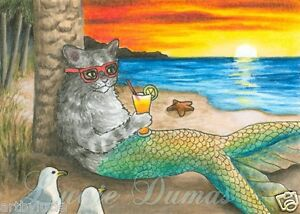 ACEO art print Cat Mermaid 25 ocean, sea, sunset from painting by L.Dumas