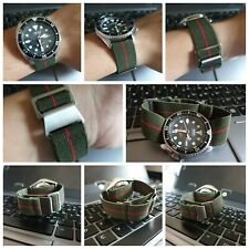 Green/Red 22mm Elastic Watch Strap