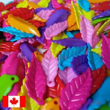 lot of 290 rainbow leaves plastic beads - bright nature kawaii cute leaf plant