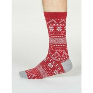 Thought Men's Olwin Fairisle Bamboo Blend Socks - Pillarbox Red - One Size 7-11