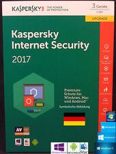 Kaspersky Internet Security 2017 Upgrade 3 Geräte - 1 Jahr + Handbuch (PDF) NEU