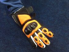 PROBIKER CHEAP LEATHER SUMMER SPORTS MOTORCYCLE GLOVES ORANGE/BLACK - MEDIUM