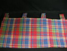 "Custom RED  PANEL 76"" x 64 "" COUNTRY PLAID WINDOW CURTAIN  Tab top  Lined  EUC!"