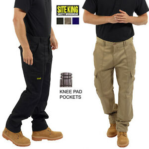 Mens Combat Cargo Work Trousers Size 28 to 52 & Knee Pad Pockets By SITE KING 04