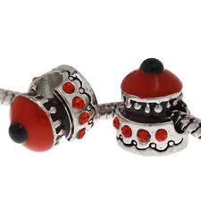 5 Perles Charms Grand Trou(4.7mm) Gâteau Strass Rouge Pour Bracelet 14x12mm