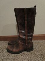 Vic Matie knee high leather boots brown embossed 37.5