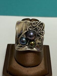 Hagit Gorali HG Israel Sterling Silver Multi Color Three Pearl Ring Size 8