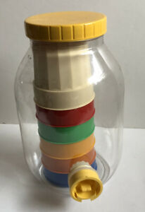 Vintage 6 Original Graffi Cups Multicolor and Beverage Dispenser Clear & Yellow