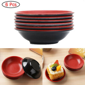 6x Round Plastic Melamine Japanese Non-stick Stackable Sauce Dishes Dipping Bowl