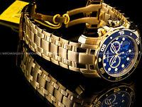 New Invicta Pro Diver Scuba 18K Gold Plated Blue Dial Chrono S.S Bracelet Watch