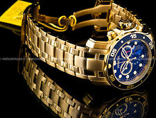 New Invicta Pro Diver Scuba 18K Gold Plated Blue Dial Chrono S.S Bracelet Watch