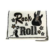 Mary Frances Rock and Roll Clutch White Black Music Beaded Handbag Purse Bag New