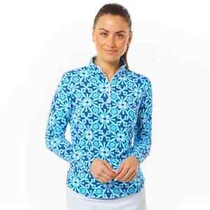 IBKUL 1/4 Zip Mock Neck Top Long Sleeve Moroccan Tile Blue S M L XL Golf Shirt