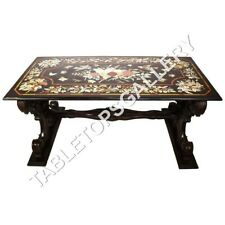 4'x2' Marble Dining Table Top Floral Marquetry Inlay Home Decor Furniture E637