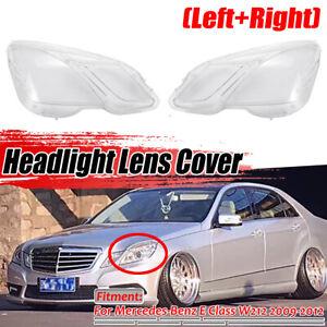 For 2009-2012 Mercedes Benz E Class W212 L&R Headlamp Headlight Lens Cover 2pcs