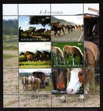 3 DJIBOUTI -2011.ANIMALS. Several breeds HORSES .BLOCK  MNH**.