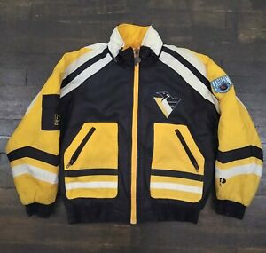 Vintage Pro Player Pittsburgh Penguins Sleeve Pocket Puffer Coat Size Youth L/XL