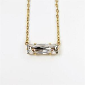 La Vie Parisienne Rectangle Bar Swarovski Crystal Necklace in Shade Chic Minimal