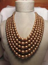 Vintage 5 Strand Gold Metallic Plastic Bead Gold Tone Necklace