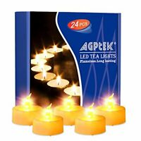AGPTEK 24PCS Timer Realistic and Bright Tea Light Flameless Fake Battery