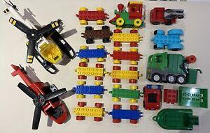 Lego Duplo Vehicle & Part Bundle Some Vintage Helicopter Train Garbage Truck Car
