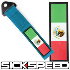 BLUE HIGH STRENGTH RACING TOW STRAP MEXICO FLAG FRONT REAR BUMPER FOR CAR P12