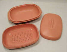 Vintage Tupperware Rose Pink Microwave Vegetable Rice Steamer #1273 #1274 #1275
