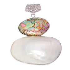 18K White Gold Plated Natural Pearl Abalone Shell Women Jewelry Pendant FD779