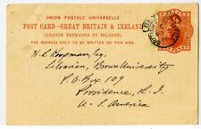 Great Brit 00004000 ain Stamps 1896 British Postal Card Usage to Brown University Ri