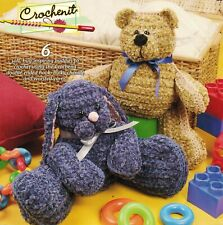 6 Chenille Stuffed Bear Elephant Frog Kitty Lamb Bunny Crochenit Crochet Pattern