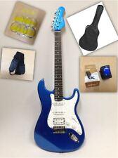 Haze E-211 Strat Electric Guitar SSH Metallic Blue + Gig Bag + Full Kit