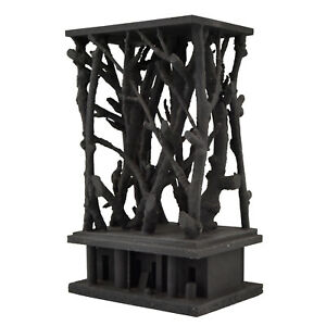 Mid Century black wooden sculpture with branches André Pailler France 1970