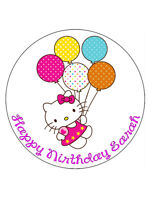 "HELLO KITTY PERSONALISED BIRTHDAY CAKE EDIBLE A4/8"" ROUND CAKE TOPPER DECORATION"