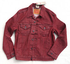 LEVIS Original Rigid Trucker Jean Jacket Stretch Denim Red Men's Small Rare
