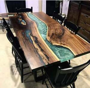 Custom Epoxy Table, Live Edge Resin Table, Walnut Natural Decorate Made to Order