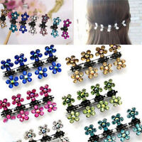 12 PCS Baby Girl lady Crystal Flower Mini Hair Claw Clamp Hair Clip Hair Pin S