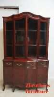 Antique French Country China Cabinet Hutch Display Regency Mahogany Petite