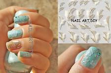 Nail Art Stickers 3D-Adesivi 3D per unghie-PIUME BIANCHE-ORO-BUY 3 GET 1 FREE!!!