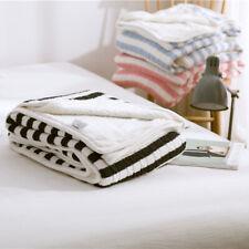 Stripe Thicken Knitted Cotton Velvet Blanket Warm Office Nap Blankets Home Decor