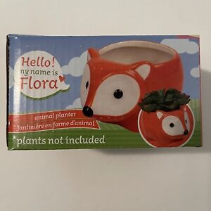 "Ceramic Animal Planter ""Flora The Fox"" Home Decor 5""x3"" Garden Flower pot"