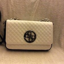 GUESS Women G LUx Quilted White Multi Flap Over Crossbody Bag New