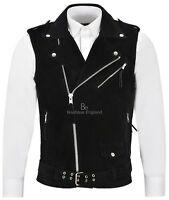 Men's Brando Black Suede Waistcoat Motorcycle Biker Style STEAMPUNK Leather 1025