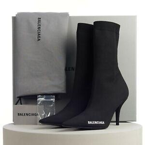 BALENCIAGA 950$ Knife Sock Boots In Black With Logo Print