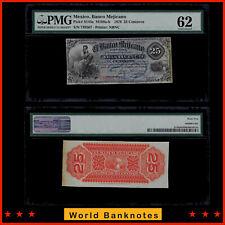 WB. Mexico Banco Mejicano 1878 25 Centavos P# S143a PMG UNC 62
