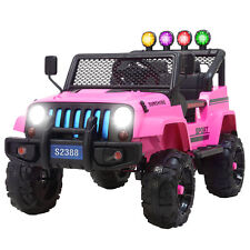 12V Kids Ride on Car Jeep Wrangler Toys Electric Battery w/ Remote Control Pink