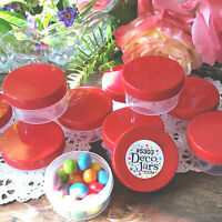 6 JARS 1 ounce Container Plastic #5303 Red Lid Hummingbird Feeder Craft Part