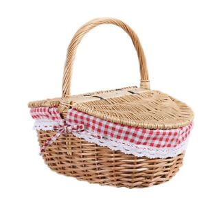 1X(Country Style Wicker Picnic Basket Hamper with Lid and Handle & Liners
